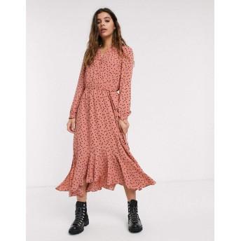 オアシス ミディドレス レディース Oasis polka dot midi shirt dress in pink [並行輸入品]