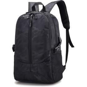 ノートパソコン用のバッグ レジャー迷彩男性バッグオックスフォードバックパック学生旅行ショルダーバッグ (色 : Black, サイズ : L)