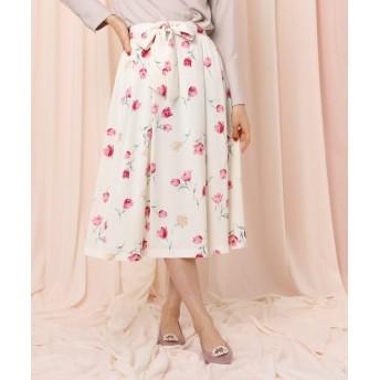 Couture Brooch(クチュールブローチ) 【WEB限定サイズ(LL)あり】チューリップブルームフレアスカート