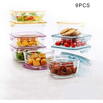 耐熱ガラス 保存容器 ふたのガラス保存容器スタッカブルガラス食事準備コンテナで9点セットグラスストレージ食事準備ガラス容器スタッカブル食品コンテナコンテナ