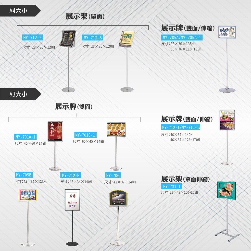台灣製 單面展示看板 MY-713 布告欄 展板 海報板 立式展板 展示架 指示牌 廣告板 標示板 學校 活動