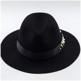 Liyuzhu 女性用100%ウール秋冬Fedora帽子ワイド縁フェルトウール帽ブリティッシュジャズハット (色 : ブラック, サイズ : 56-58cm)