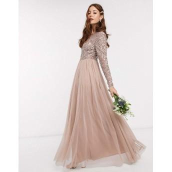 マヤ マキシドレス レディース Maya Bridesmaid long sleeve maxi tulle dress with tonal delicate sequin overlay in taupe [並行輸入品]