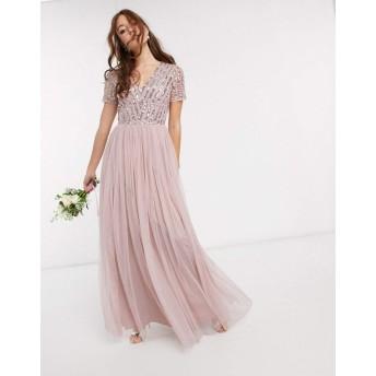 マヤ マキシドレス レディース Maya Bridesmaid v neck maxi dress with tonal delicate sequin in pink [並行輸入品]