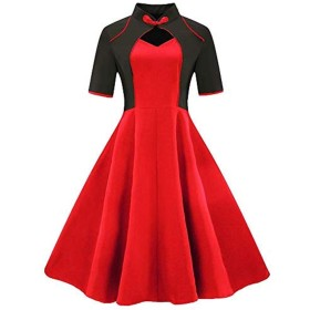 Electrost 女性のドレス半袖ドレスレトロ花嫁介添人ドレス (色 : レッド, サイズ : M)
