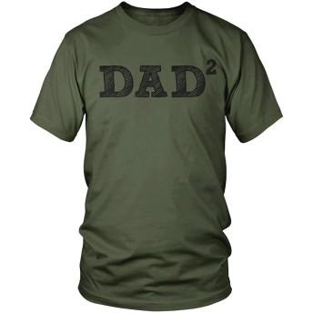 メンズパパ2、スクエア、2人の父、父の日Tシャツ