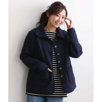 アウター [nissen(ニッセン)] ふんわり柔らか軽量キルト中綿カットソースタンドカラージャケット ネイビー L