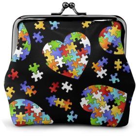 自閉症意識パズルピースハート 皮革 財布 小銭入れ 持ち歩きやすい手頃な
