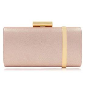 JPAKIOS シャイニーイブニングバッグアイアンボックスファッションハイエンドボックスバッグハンドバッグ婦人用バッグ (色 : ピンク)