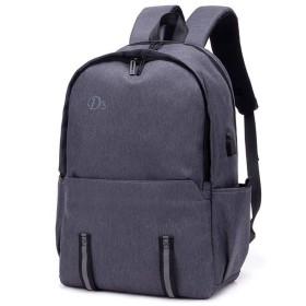 ノートパソコン用のバッグ 防水コンピュータバッグメンズショルダーレジャー旅行バックパックを充電するUSB (色 : Grey, サイズ : L)