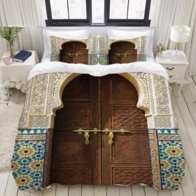 HASENCIV 布団カバー 3点セット 高級寝具カバーセット シーツ 速乾性 ファッション柄、モロッコの田舎の住宅建設ファサード城古典的な町の外観の風景 枕カバー付き シングル(150 x 210cm)