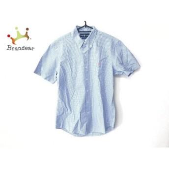 ラルフローレン RalphLauren 半袖シャツ サイズL メンズ 新品同様 ライトブルー×白 チェック柄 新着 20200110