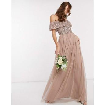 マヤ マキシドレス レディース Maya Bridesmaid bardot maxi tulle dress with tonal delicate sequins in taupe blush [並行輸入品]