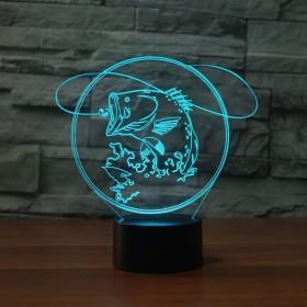 ナイトライト - ツェッペリンイリュージョンランプナイトライト7色は、リモート錯視ライトアクリルフラット誕生日ギフト魚を変更します (Color : Fish)