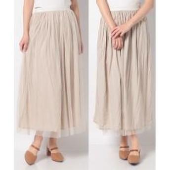 【Melan Cleuge women】チュール&微光沢 TRリバーシブルスカート