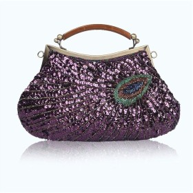 JPAKIOS ホットレトロ孔雀イブニングバッグ品質ハンドバッグブティックビーズバッグクラッチバッグショルダーバッグ斜めのパッケージコスメティックバッグ (色 : 紫の)
