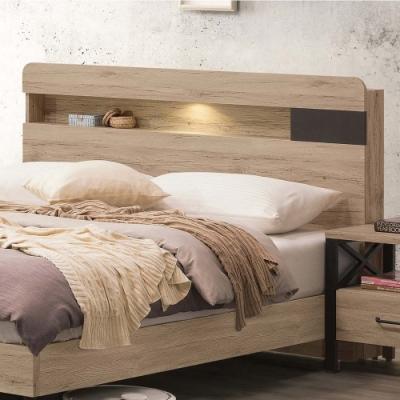 文創集 里奇現代5尺橡木紋雙人床頭片(不含床底+不含床墊)-151.5x14x97cm免組