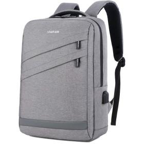 ノートパソコン用のバッグ バックパックショルダーバッグ男のラップトップバッグ男性のショルダーバッグの空気透過性と耐摩耗性 (色 : グレー, サイズ : L)
