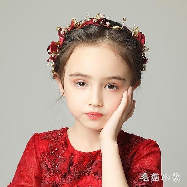 兒童頭飾女童花環配飾髮箍表演演出生日飾品女孩酒紅色花瓣小髮飾