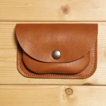 再販 ミニ財布 本革製 カードケース付き 小銭入れ ライトブラウン BW3LB 茶色 コインケース 牛革 コンパクト財布