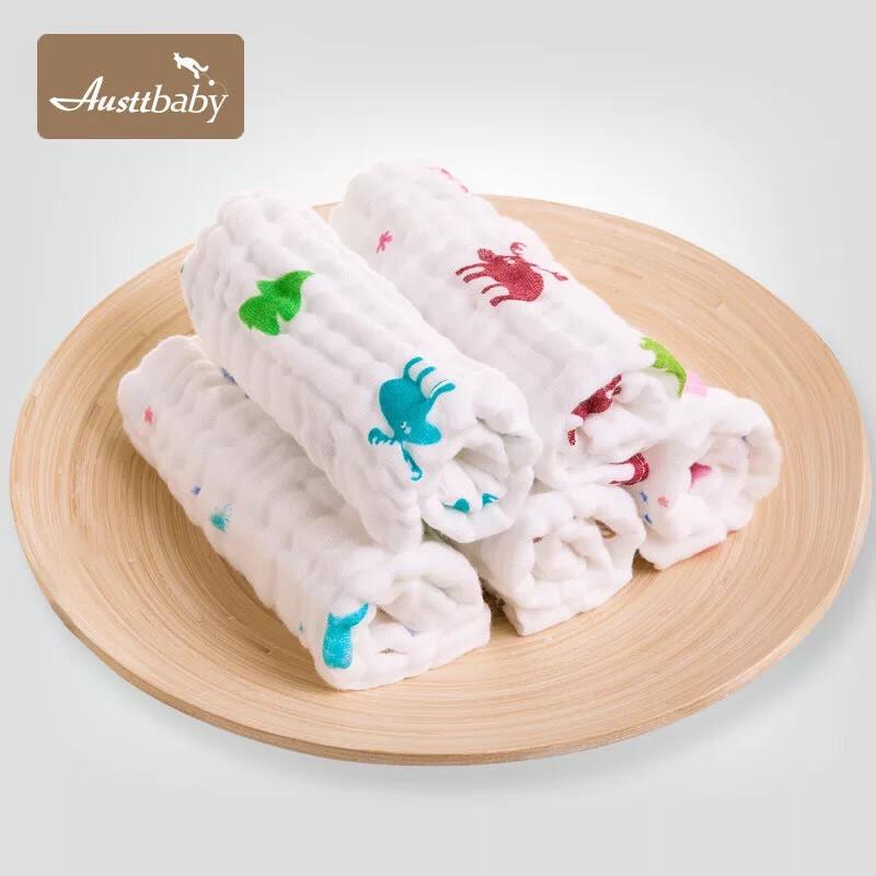 simples 六層紗嬰兒紗布口水巾棉質寶寶小方巾新生兒純棉毛巾餵奶巾-5條裝