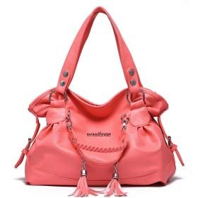 ハンドバッグ、シンプルな気質のタッセルソフトレザーハンドバッグ、ショルダーバッグショルダーバッグ、レザー、大容量、36  15  44のCm 繊細なハードウェア (Color : Light pink)
