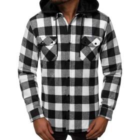 チェックシャツ メンズ, M, ホワイト 130 (チェック ワイシャツ チェック フランネルシャツ チェック シャツ, チェック 長袖 チェック 半袖 チェック オーバーシャツ)