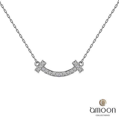 amoon  戀戀東京系列 喜悅 18K金鑽石項鍊 白K金