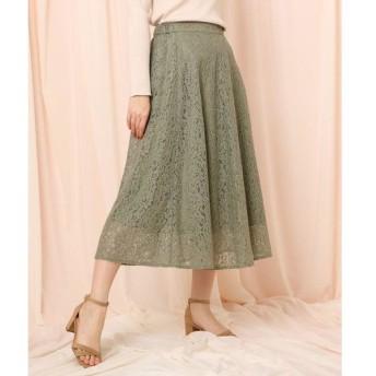 Couture Brooch / クチュールブローチ ◆【洗える】フラワーレースフレアスカート