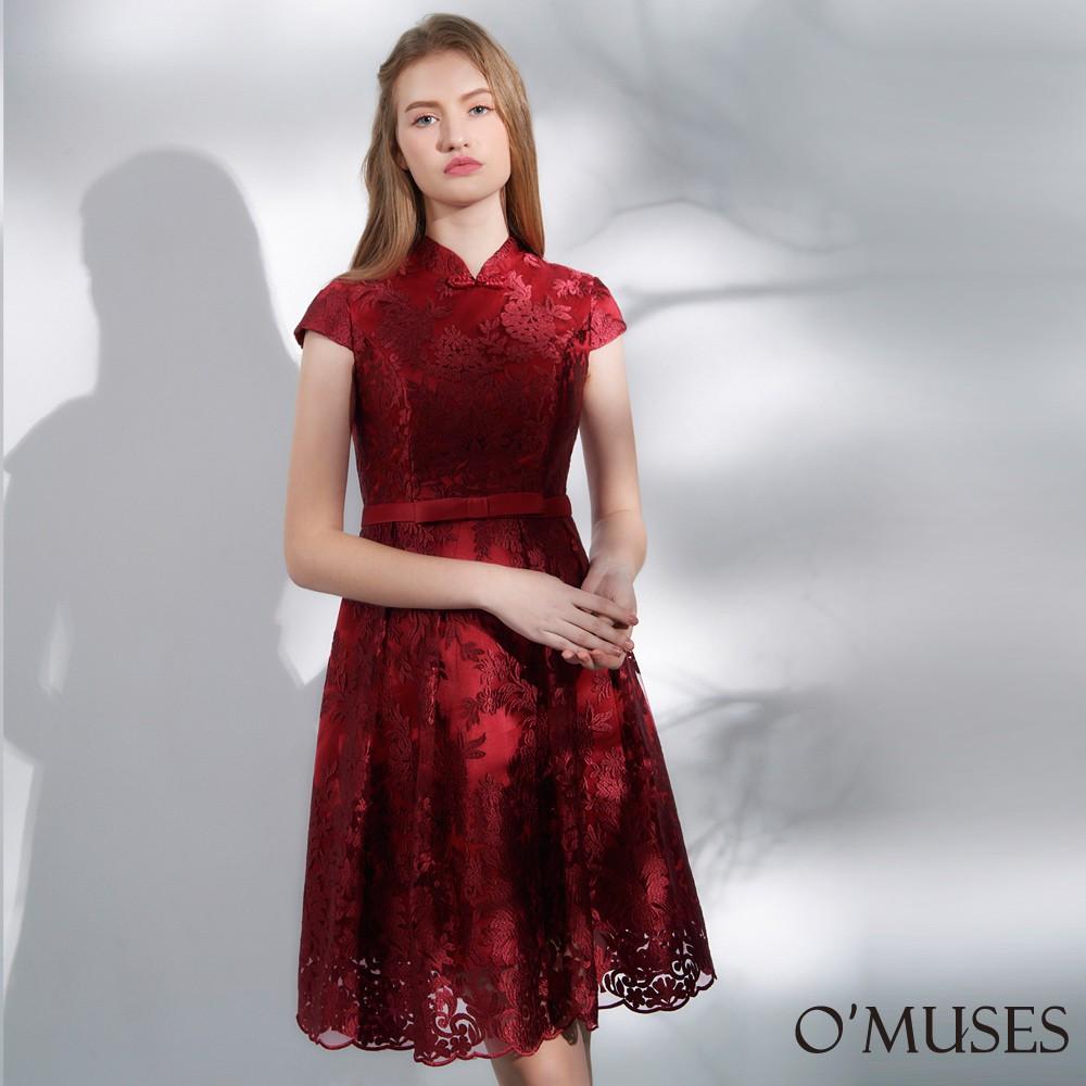【OMUSES】蕾絲刺繡改良式旗袍短禮服18-1940