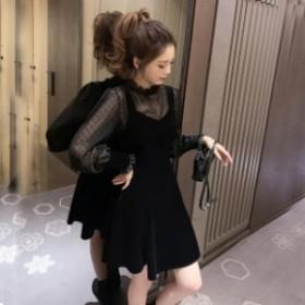 お呼ばれ シースルー ワンピース ドレス 韓国 ファッション レディース ベロア ワンピース ミニ 結婚式お呼ばれ パーティー ドレス ワン