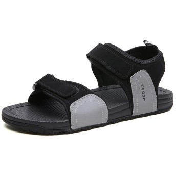 [Jusheng-shoes] メンズシューズ 新しいビーチサンダル男性用屋外ウォーターシューズフックミシン糸軽量通気性防水滑り止めカジュアルオープントゥ カジュアルシューズ (Color : Black-grey, Size : 40 EU)