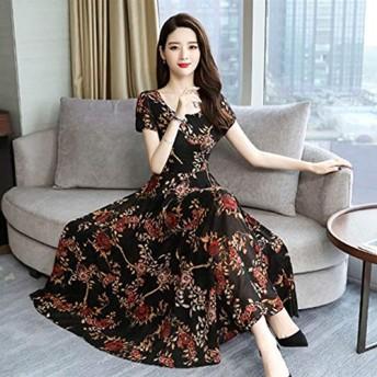 ACHICOO ドレス 半袖 Aライン ロングドレス フラワープリント 細いウエスト 女性 夏 ファッション 黒 L