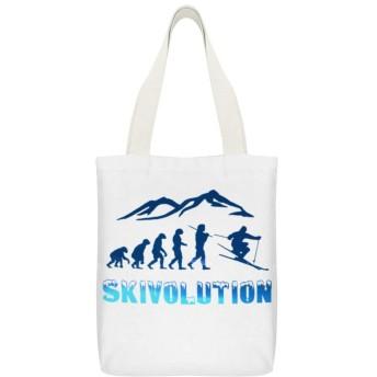 スキーエボリューションスキーヤースノースポーツクール(36) 【実用性抜群】このトートバッグは学生、社会人、通勤、通学、外出、ビジネス、国内、海外旅行(トラベル)、レジャーに幅広くお使いいただけます。また、買い物に行く時、この帆布バッグも役に立って、エコバッグ、ショッピングバッグとして循環使用できます。