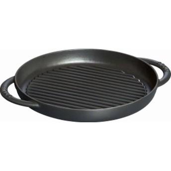staub ストウブ 「 ピュアグリル ラウンド ブラック 26cm 」 グリルパン IH対応  Grill & Frying Pan 40509-