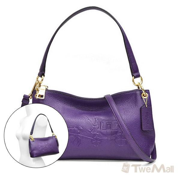 COACH 皮革馬車LOGO肩背/斜背兩用小包(紫)