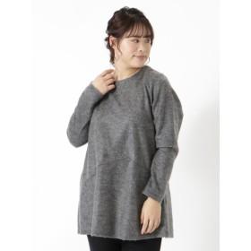 【大きいサイズレディース】【3-8L】切替チュニック トップス チュニック