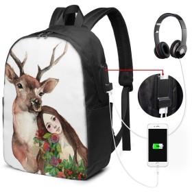 縦柄 角型 バッグ 17インチ USB充電ポート付き バックパック 調節可能なショルダーストラップ アウトドアリュック 登山リュック 季節新品 多機能 通学 通勤 出張 旅行用 大容量 黒 メンズ レディース通用