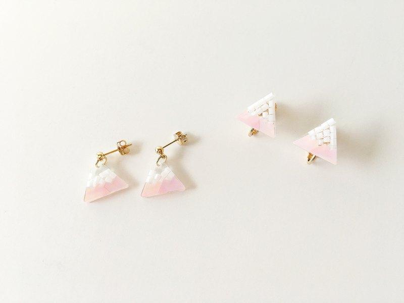 櫻花富士山 貼式耳夾耳針 垂墜耳夾耳針 手工耳環