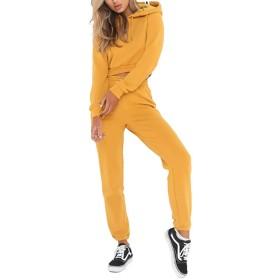 女性の2ピース衣装トラックスーツカジュアル長袖パーカースウェットシャツ巾着パンツスポーツウェアセット