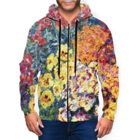 【甘子屋】 花の世界 パーカー 長袖 メンズ フード付き カジュアル ポケット秋冬服 運動 日常着