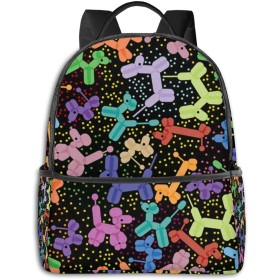 バックパック リュックサック 黒のカラフルな気球犬 超大容量 多機能 耐衝撃 旅行 子供 男の子 女の子 男女兼用 通学 遠足 小学生 中学生 ビジネス カジュアル リュック