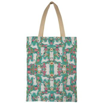 素晴らしいピレネーの花の犬かわいい犬のデザイン最高の花柄ピレネーの花柄キャンバストートバッグ大容量レディースショルダーバッグハンドバッグ