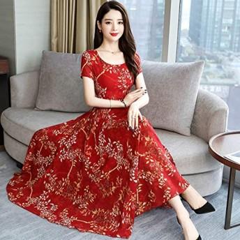 ACHICOO ドレス 半袖 Aライン ロングドレス フラワープリント 細いウエスト 女性 夏 ファッション 赤 M