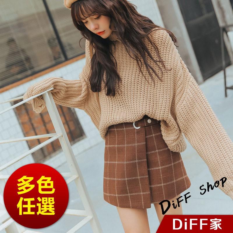 【DIFF】韓版復古顯瘦高腰格紋A字裙 半身裙 短裙 褲子 短褲【P109】