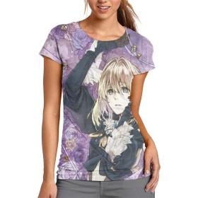 DCQ-SJB ヴァイオレット・エヴァーガーデン Tシャツ 半袖 服 レディース Tシャツ おしゃれ かっこいい しわ伸ばし ちょいワル 肌着 White XL