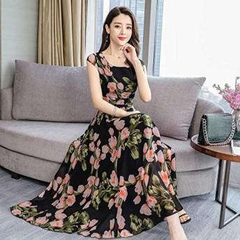 ACHICOO ドレス ロングドレス 半袖 花柄 プリント 女性 夏 カジュアル ピンク XXXL