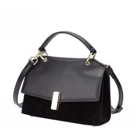 多彩なレザーハンドバッグショルダーバッグクロスボディバッグ通勤バッグ (Color : Black, Size : 20813cm)