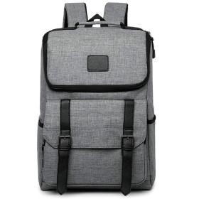 16インチキャンバスオックスフォード布旅行キャリングラップトップスクールバッグ防水Moreultiポケットバックパック-グレー-灰色
