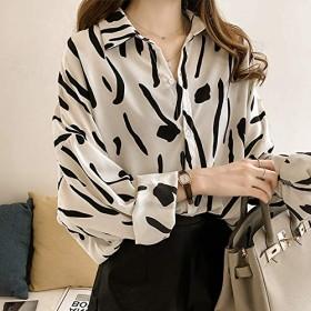 ACHICOO レディース シャツ ブラウス ファッション 落書きプリント 長袖 ルーズシャツ 白 XL